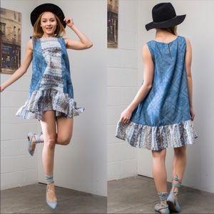 🆕 Sleeveless Lightweight Dress with Denim Print